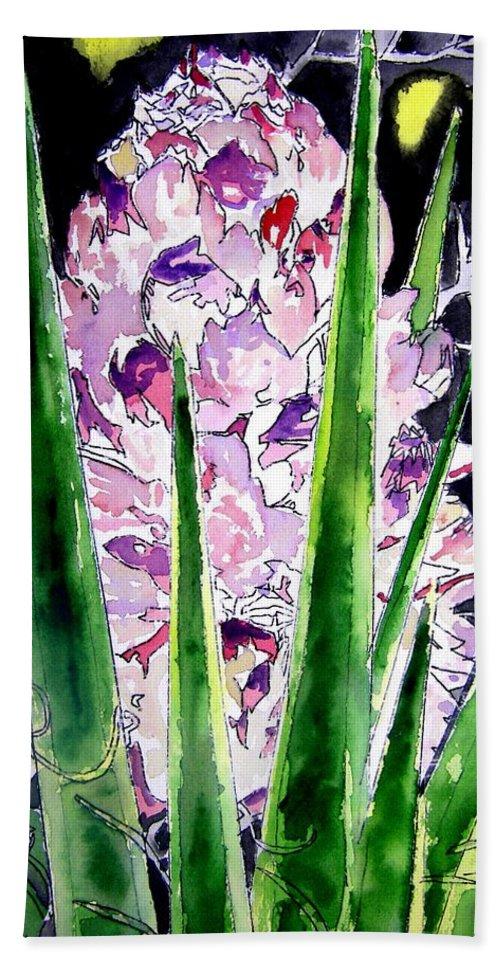 Flower Bath Sheet featuring the painting Yucca Flower Plant Southwestern Art by Derek Mccrea