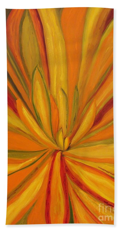 Abstract Hand Towel featuring the painting Yucca Plant by Catalina Walker