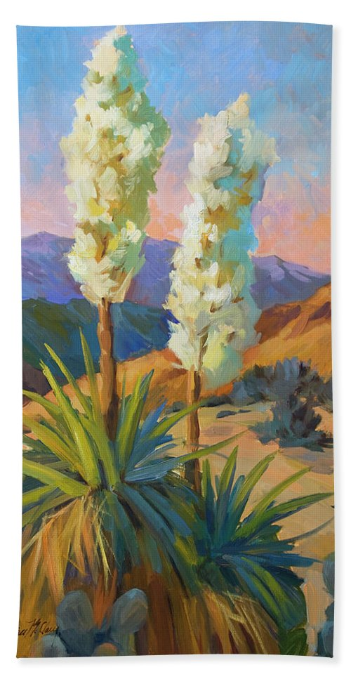 Yuccas Hand Towel featuring the painting Yuccas by Diane McClary