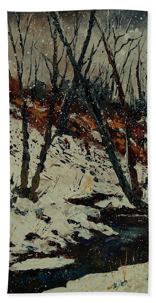Winter Hand Towel featuring the painting Ywoigne Snow by Pol Ledent
