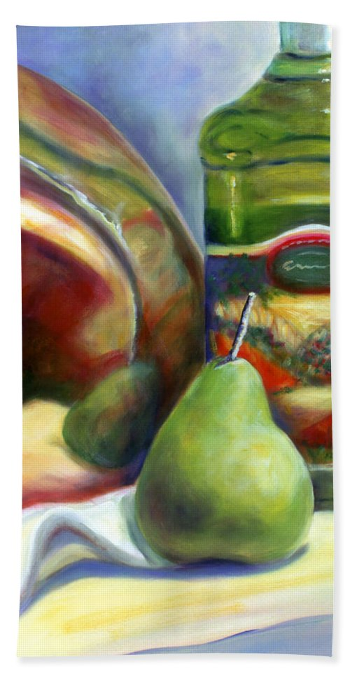 Copper Vessel Bath Towel featuring the painting Zabaglione Pan by Shannon Grissom