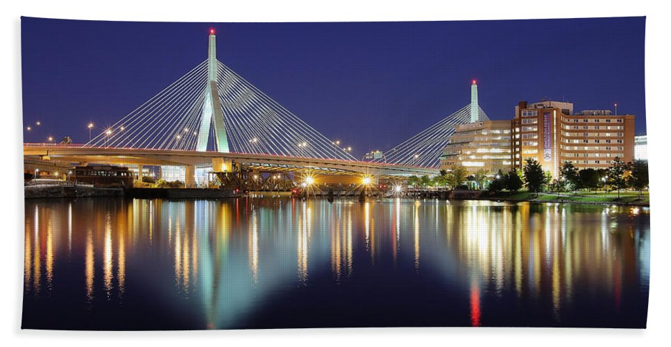 Boston Hand Towel featuring the photograph Zakim Aglow by Rick Berk