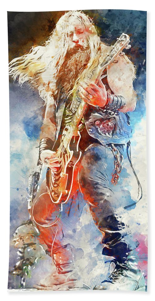 Zakk Wylde Bath Sheet featuring the painting Zakk Wylde - Watercolor 09 by Andrea Mazzocchetti