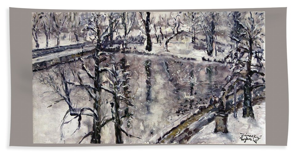 Landscape Bath Sheet featuring the painting Zamecky Rybnik by Pablo de Choros