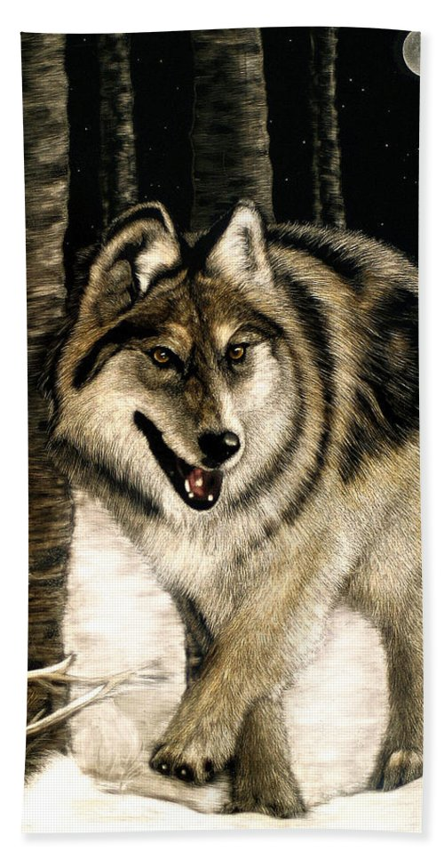 Wolf Bath Sheet featuring the painting Zane Gray Wolf by Angie Cockle