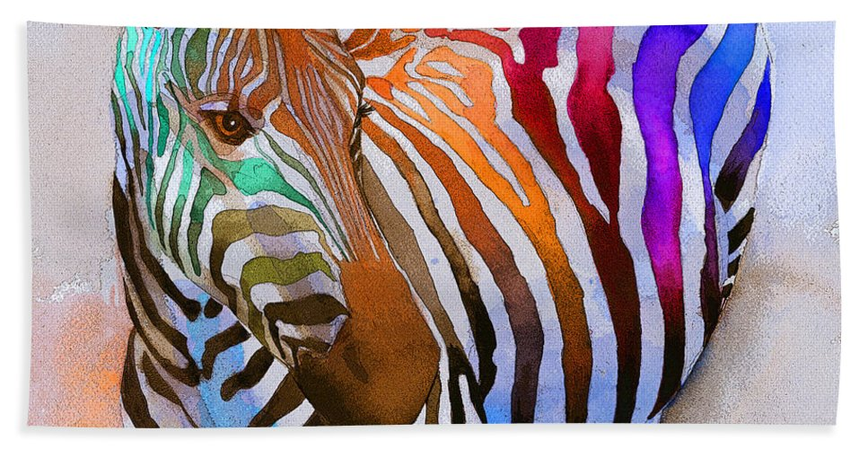 Colorful Bath Towel featuring the painting Zebra Dreams by Galen Hazelhofer