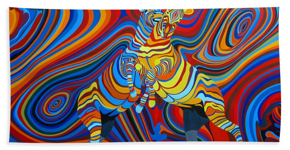 Zebra Bath Sheet featuring the painting Zebradelic by Pascal Etienne Roy