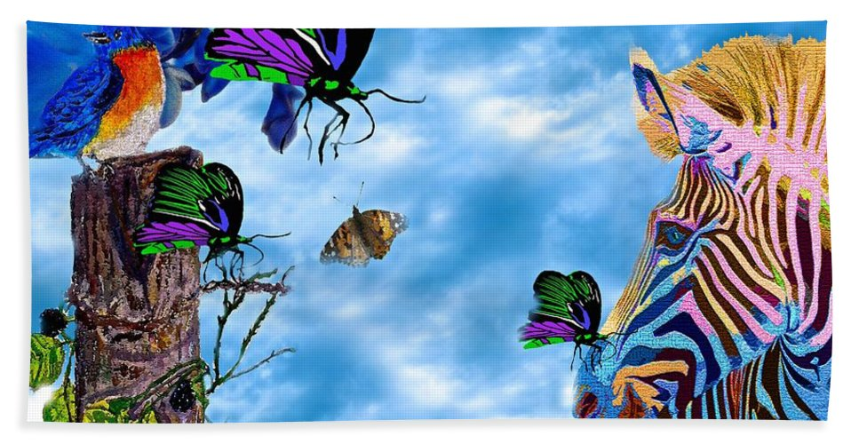 Zebra Hand Towel featuring the painting Zebras Birds And Butterflies Good Morning My Friends by Saundra Myles