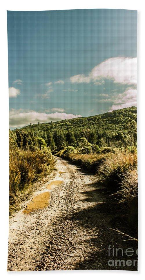 Tasmania Bath Towel featuring the photograph Zeehan Dirt Road Landscape by Jorgo Photography - Wall Art Gallery
