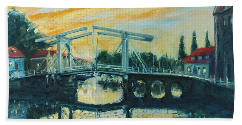 Bridge Bath Towel featuring the painting Zeeland by Rick Nederlof