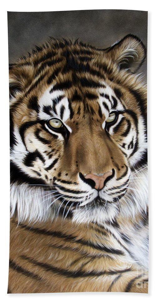 Tiger Hand Towel featuring the painting ZEN by Sandi Baker