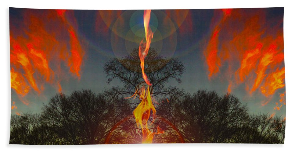 Fire Hand Towel featuring the photograph Zenith Coming by Mykel Davis