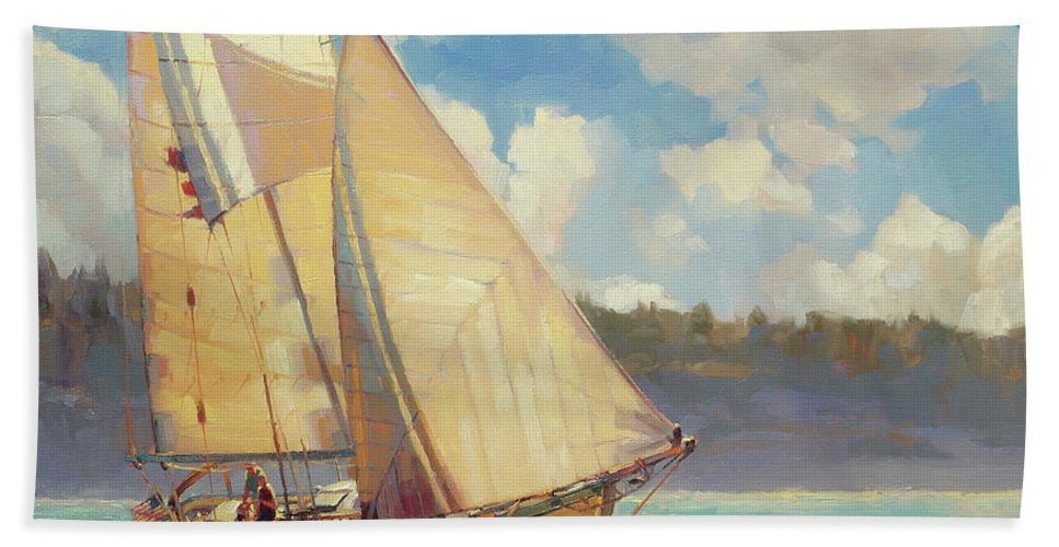 Sailboat Bath Towel featuring the painting Zephyr by Steve Henderson