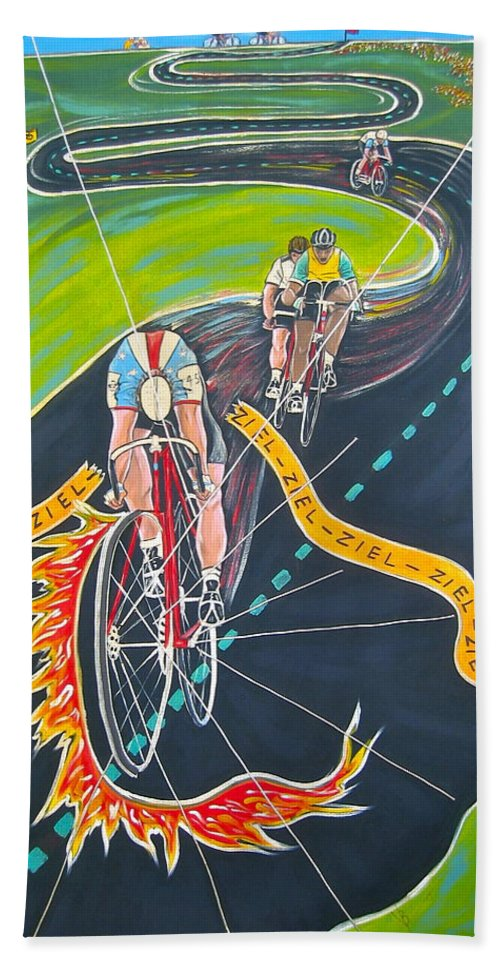 Biking Hand Towel featuring the painting Ziel by V Boge
