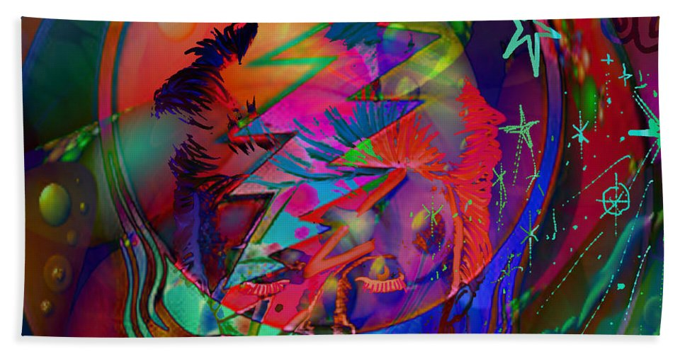 David Bowie Bath Sheet featuring the painting Ziggy by Kevin Caudill