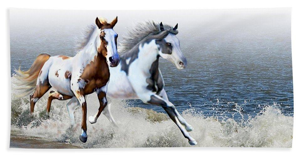 Paint Horses Hand Towel featuring the digital art Ziggy's And Annie's Beach Run by Barbara Hymer