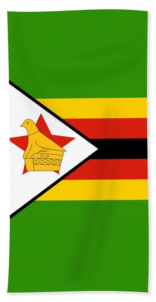 Zimbabwe Bath Sheet featuring the mixed media Zimbabwe Flag by Otis Porritt