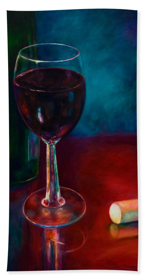 Wine Bottle Bath Towel featuring the painting Zinfandel by Shannon Grissom