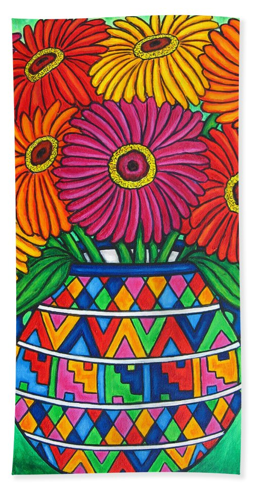 Zinnia Bath Sheet featuring the painting Zinnia Fiesta by Lisa Lorenz