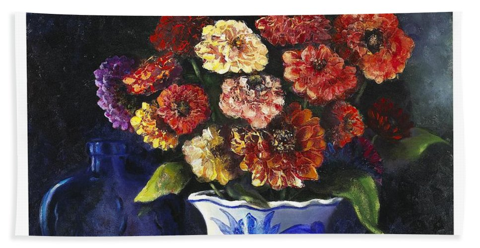 Still Life Hand Towel featuring the painting Zinnias by Marlene Book
