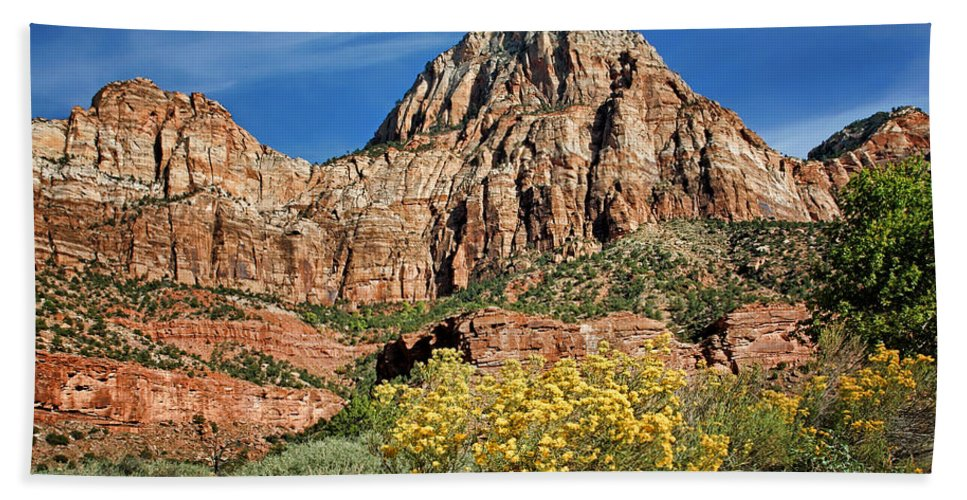 Zion Canyon Hand Towel featuring the photograph Zion Canyon - Navajo Sandstone by Nikolyn McDonald