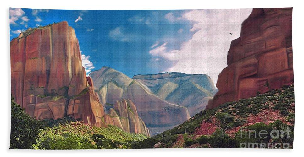 Zion National Park Bath Sheet featuring the digital art Zion Cliffs by Walter Colvin
