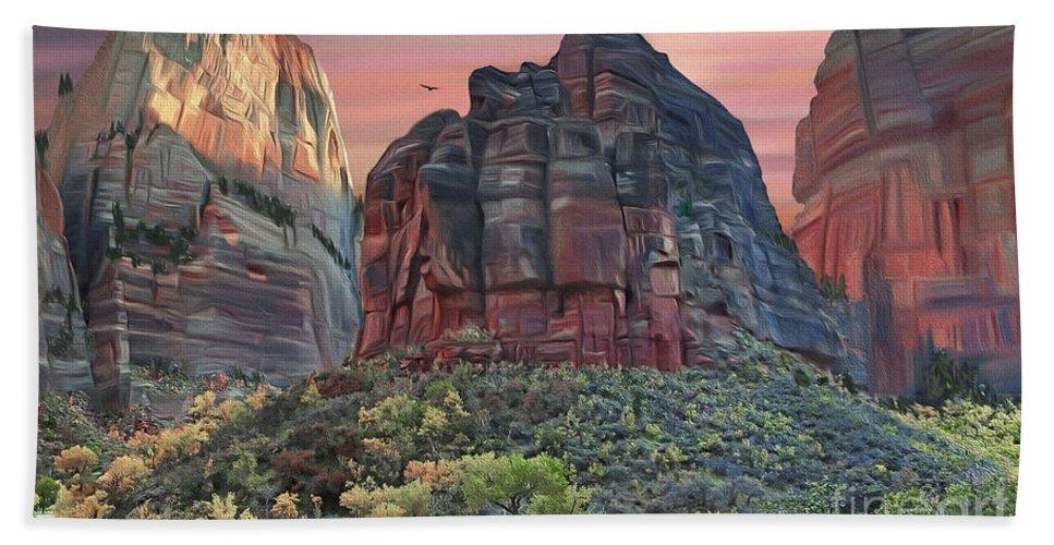 Zion National Park Bath Sheet featuring the digital art Zion National Park Sunset by Walter Colvin