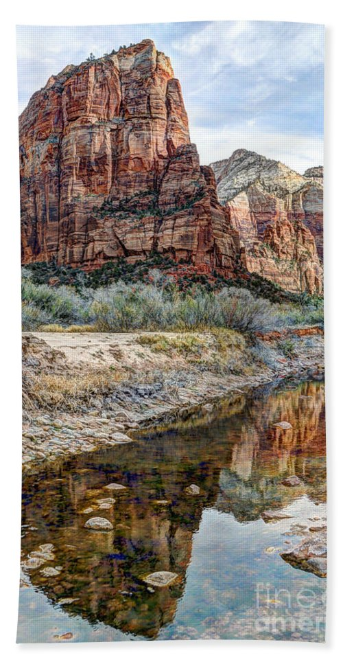 Angels Landing Bath Sheet featuring the photograph Zions National Park Angels Landing - Digital Painting by Gary Whitton