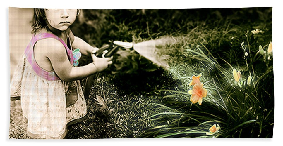 Children Hand Towel featuring the photograph Zoe Waters The Flowers by Karen W Meyer