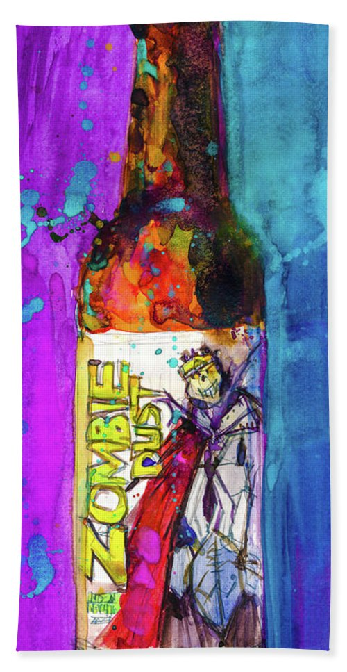 Man Cave Hand Towel featuring the painting Zombie Dust By 3 Floyds Brewing Co. by Dorrie Rifkin