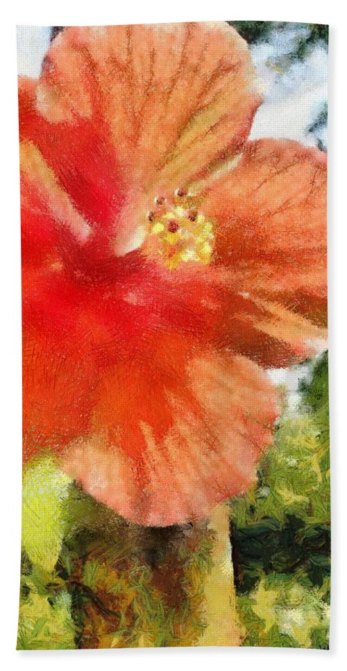 Zoo Hand Towel featuring the painting Zoo Flower by Jeffrey Kolker