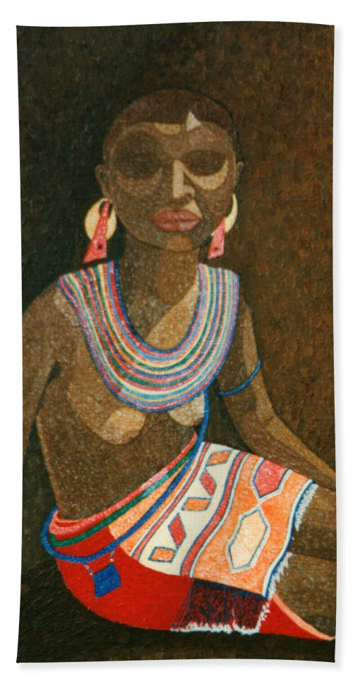 Zulu Woman Bath Towel featuring the painting Zulu Woman With Beads by Madalena Lobao-Tello