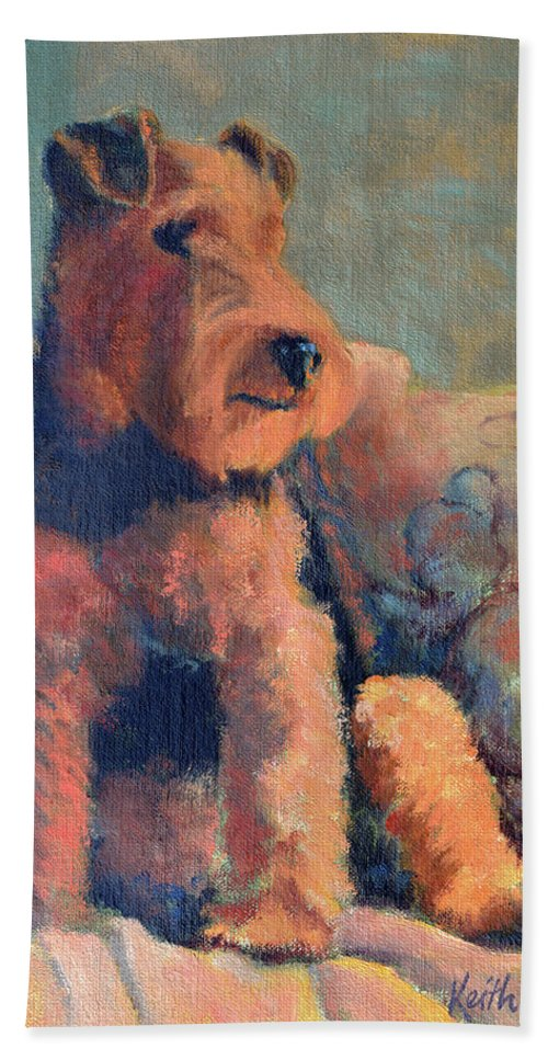 Pet Bath Towel featuring the painting Zuzu by Keith Burgess