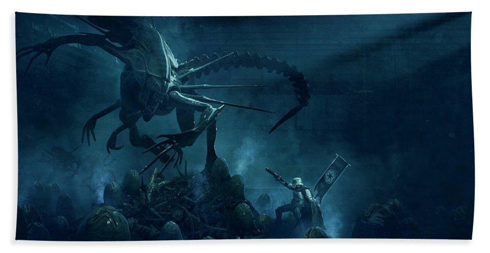 Star Wars Bath Towel featuring the digital art 501 Vs Aliens 1 by Guillem H Pongiluppi
