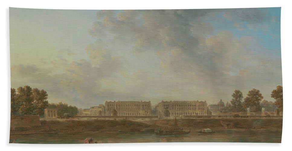 Alexandre-jean Noël Bath Towel featuring the painting A View Of Place Louis Xv by Alexandre-Jean Noel