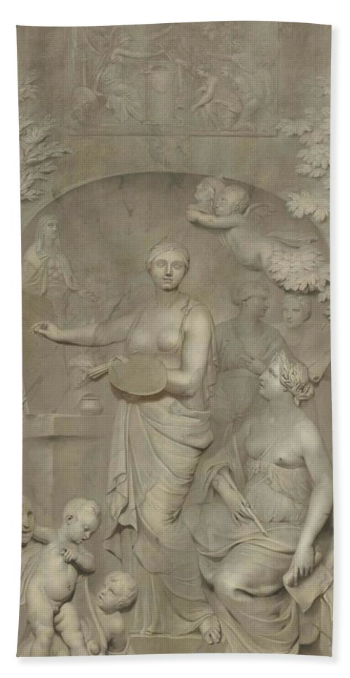 Canvas Bath Towel featuring the painting Allegory Of The Arts. by Gerard de Lairesse