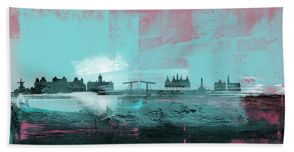 Amsterdam Bath Towel featuring the mixed media Amsterdam Abstract Skyline I by Naxart Studio
