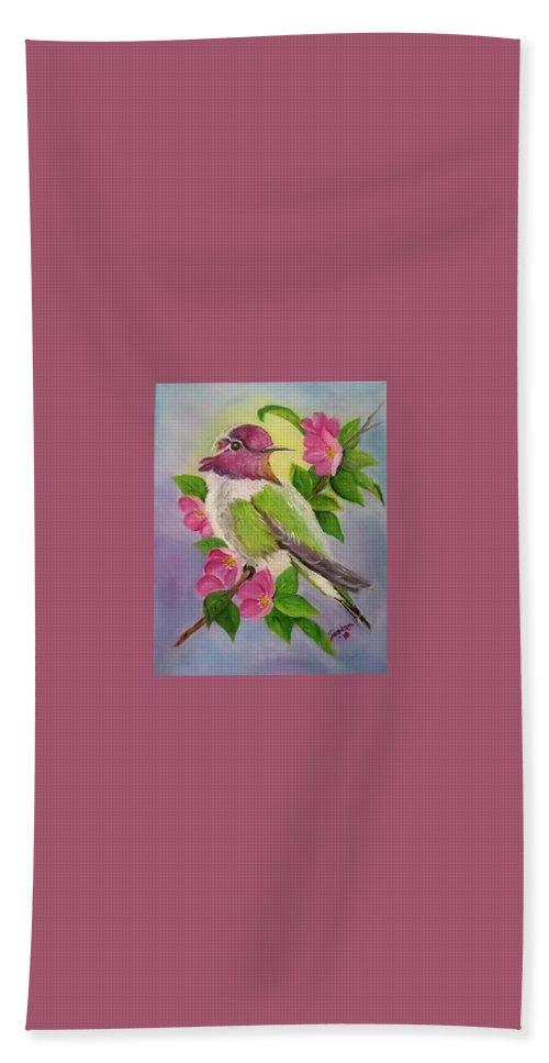 Anna's Hummingbird Hand Towel featuring the painting Anna's Hummingbird by Sandra Maddox
