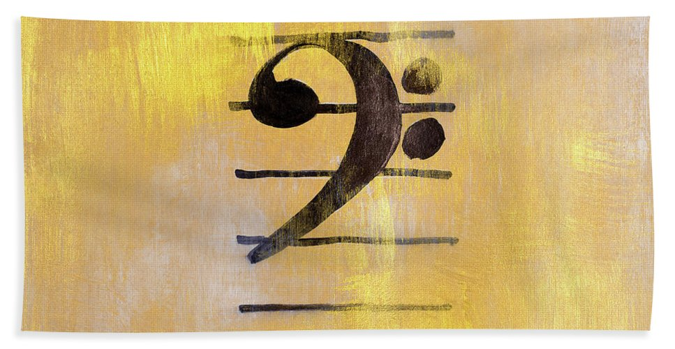 Bass Bath Towel featuring the painting Bass Clef by Lanie Loreth