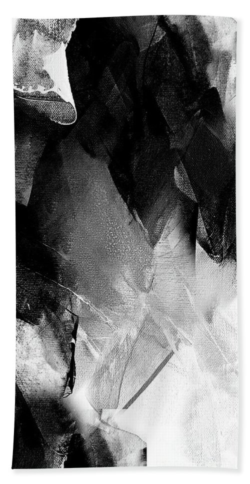 Diamond Bath Towel featuring the painting Black White Grey Abstract by Vesna Antic