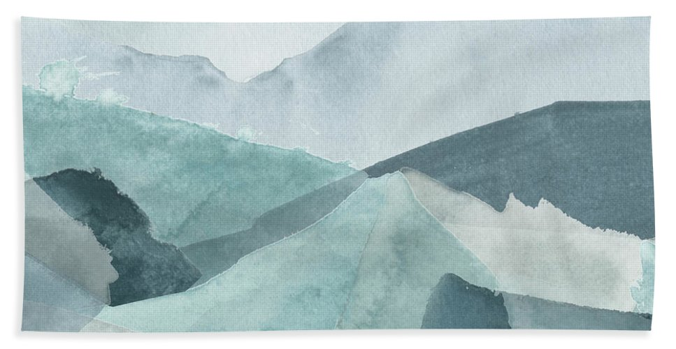 Abstract Bath Towel featuring the painting Blue Range Iv by June Erica Vess