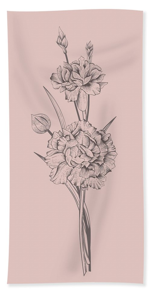 Flower Bath Towel featuring the mixed media Carnation Blush Pink Flower by Naxart Studio