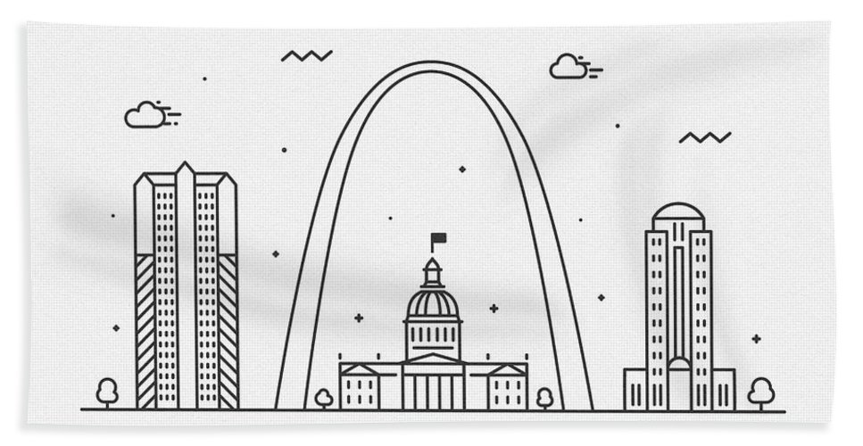St. Louis Bath Towel featuring the drawing Chisinau Cityscape Travel Poster by Inspirowl Design