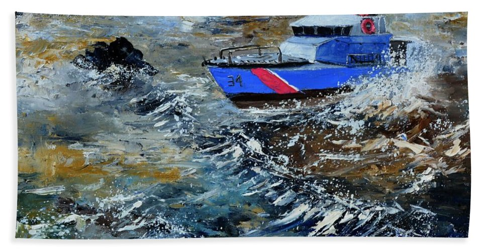 Seascape Bath Towel featuring the painting Coastguards by Pol Ledent