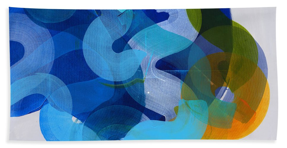 Abstract Hand Towel featuring the painting Don't Overthink by Claire Desjardins