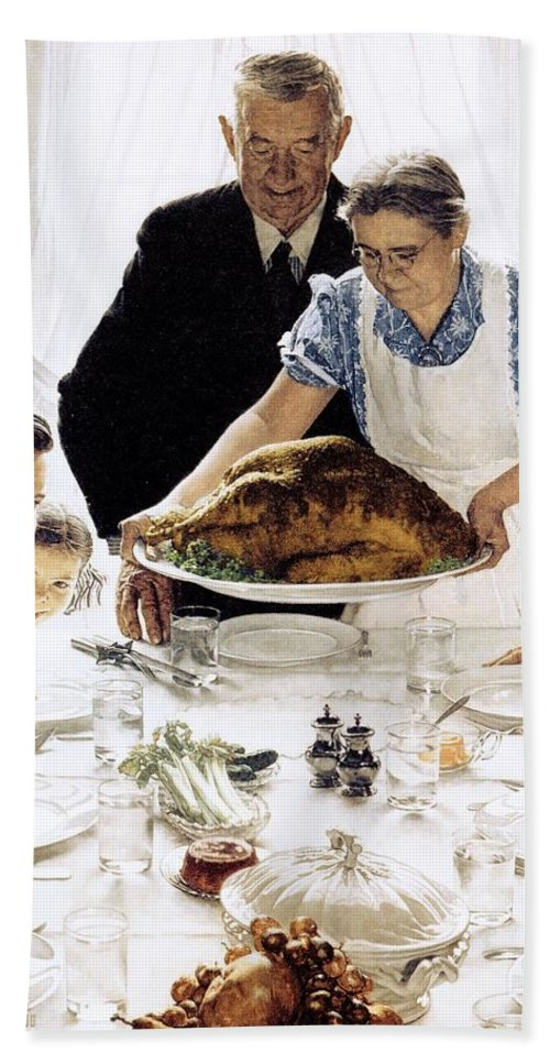 Family Bath Towel featuring the drawing Freedom From Want by Norman Rockwell