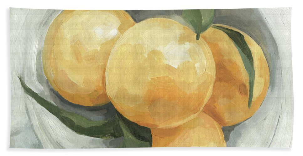 Kitchen Hand Towel featuring the painting Fruit Bowl I by Emma Scarvey