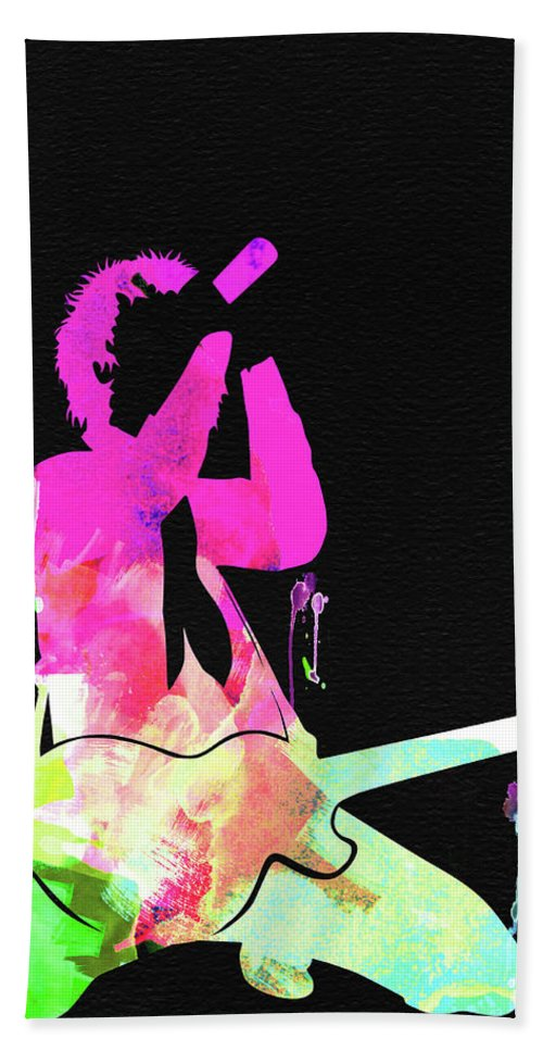 Green Day Hand Towel featuring the mixed media Green Day Watercolor by Naxart Studio
