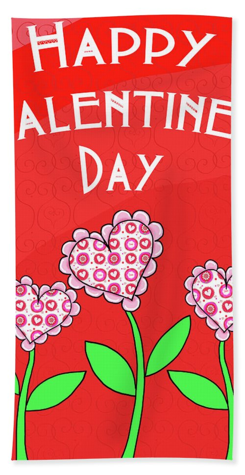 Happy Bath Towel featuring the mixed media Happy Valentines Day Flowers by Andi Metz