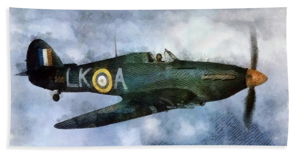 Spitfire Hand Towel featuring the painting Hawker Hurricane, Wwii by John Springfield